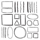 Highlighter, circles and underlines. Vector illustration set of pencil marks. Hand drawn pictures. Sketch underline marker, illustration of black sketch vector illustration