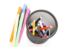 Highlighter and color pencils in pens holder Stock Image