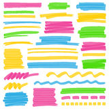 Highlighter Color Stripes, Strokes and Marking Design Elements. Set of hand drawn colorful highlighter stripes, strokes and marks. Can be used for text Royalty Free Stock Images