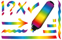 Highlighter Colors Rainbow Gradient Royalty Free Stock Image