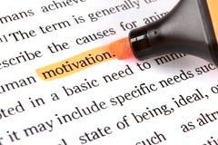 Highlighter e motivazione di parola fotografia stock