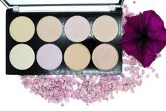 Highlighter is een verschillende toon van de huid voor het toepassen van make-up, conceptenschoonheidsmiddelen Royalty-vrije Stock Foto's
