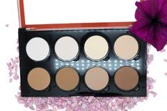 Highlighter is een verschillende toon van de huid voor het toepassen van make-up, conceptenschoonheidsmiddelen Stock Afbeeldingen