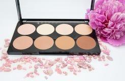 Highlighter is een verschillende toon van de huid voor het toepassen van make-up, conceptenschoonheidsmiddelen Stock Foto's
