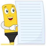 Highlighter eller markerapenna med papper Arkivbild