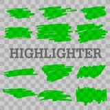 Highlighter. Hand drawn green highlight marker lines. Highlighter strokes vector set. Vector illustration vector illustration