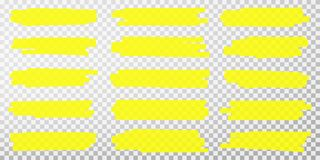 Free Highlighter Lines. Hand Drawn Yellow Highlighter Marker Strokes. Set Of Transparent Fluorescent Highlighter Markers Royalty Free Stock Photography - 148760817