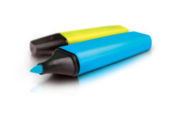 Highlighter markers. Blue and yellow markers isolated on white background Stock Photography