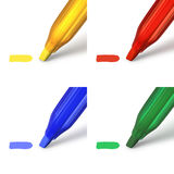Highlighter markers in red, green, blue and yellow. Highlighter pens in four colors red, blue, green and yellow with highlighted area on white background Royalty Free Stock Image