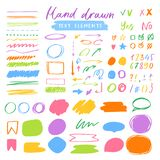 Highlighter markers vector highlighting with hand drawing elements or numbers to select and highlight text illustration. Set of marked lines and arrows isolated stock illustration