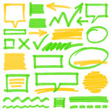 Highlighter Marking Design Elements. Set of hand drawn colorful highlighter design elements, marks, stripes and strokes, speech bubbles and arrows. Can be used Royalty Free Stock Images