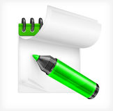 Highlighter and notebook Royalty Free Stock Photography