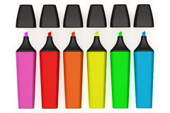 Highlighter Pen. Colorful highlighter pens isolated over a white background. This is a 3D rendered picture Stock Photo