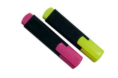 Free Highlighter Pen In Two Colors  Yellow And Purple Stock Image - 23130191