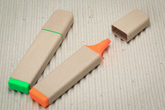 Highlighter pen. A highlighter pen made of paper. Environmentally friendly stationary supplies Stock Image