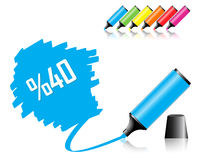 Highlighter pen with scribbles. On a blank piece of paper, your text can be added on colored area royalty free illustration