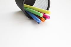 Highlighter in pens holder Stock Images