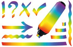 Highlighter Rainbow Colored Marker Pen Stock Illustration