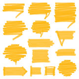 Highlighter Shaded Speech Bubbles Design Elements. Set of hand drawn highlighter speech bubbles, marks and pointers. Can be used for text highlighting, marking Royalty Free Stock Image
