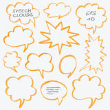 Highlighter Speech Clouds and Bubbles Design Elements. Set of hand drawn with marker highlighter speech clouds and bubbles. Can be used for text highlighting Stock Image