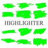 Highlighter strokes isolated on white background vector set. royalty free stock photography