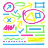 Highlighter vector marks. Color marker stripes, strokes and arrows. Arrow mark colored line, marker stroke scribble for highlighter illustration stock illustration