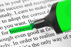 Highlighter and word business Stock Photography