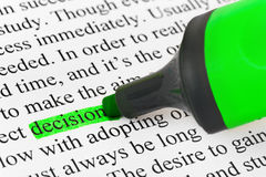 Highlighter and word decision Royalty Free Stock Photography
