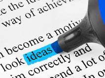 Highlighter and word Ideas Royalty Free Stock Photography