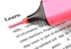 Highlighter and word Learning Royalty Free Stock Photography