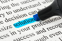 Highlighter and word solution Royalty Free Stock Photos