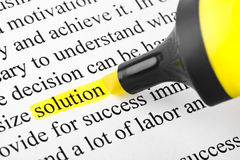 Highlighter and word solution. Concept business background Stock Photography