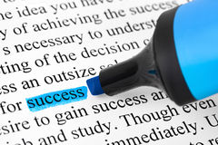 Highlighter and word success Stock Image