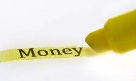 Highlighter y backg money- del asunto del concepto de la palabra fotos de archivo