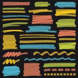 Highlighterfärg gör randig, slaglängder och markeringsdesignbeståndsdelar Arkivbilder