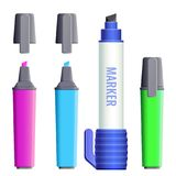 Highlighters broad felt-tipped pens with covers vector illustration. Set of color markers fineliner felt-tip pens with covers. Paint tools icons in pink, blue Royalty Free Stock Images