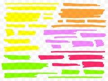 Highlighters coloridos fijados Marcadores amarillos, verdes, púrpuras, rojos y anaranjados Líneas dibujadas mano transparente del libre illustration