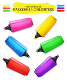Highlighters And Felt Tip Pen Set Royalty Free Stock Photos