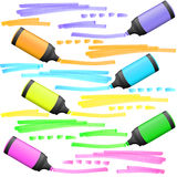 Highlighters with markings Royalty Free Stock Photo