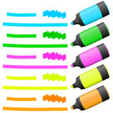 Highlighters with markings Royalty Free Stock Photos
