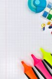 Highlighters and other  supplies Stock Photos