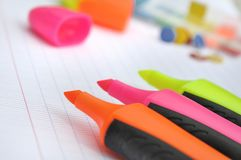 Highlighters and supplies Royalty Free Stock Photography