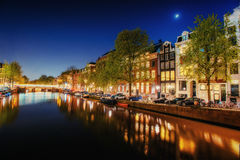 Highlighting buildings and streets Amsterdam, the Netherlands Royalty Free Stock Photo