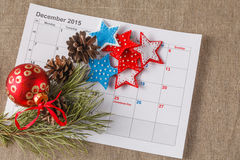Highlighting christmas date on calendar Royalty Free Stock Image