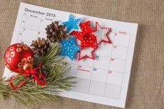 Highlighting christmas date on calendar Royalty Free Stock Image