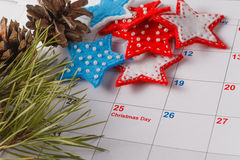 Highlighting christmas date on calendar Stock Photography