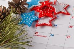 Highlighting christmas date on calendar Stock Photography