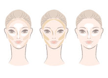 Highlighting and contouring area chart for face Stock Images