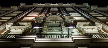 Highlighting historic building in night Madrid Royalty Free Stock Photos