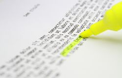 Highlighting text study Royalty Free Stock Photo